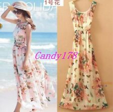 Fashion Womens Maxi Long Floral Sleeveless Bohemia Slip Dress Summer Beach Dress