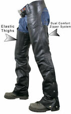 Xelement Mens Black Cowhide Cruisers Real Leather Motorcycle Chaps Pants