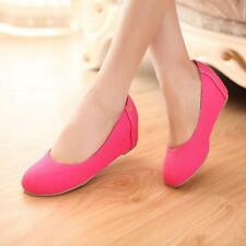 Fashion Women's Faux Suede Platform Wedge Heel Party Pumps Slip On Loafers Shoes