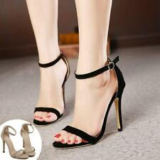 Womens Sexy Peep Toe Ankle Straps Stiletto Faux Suede High Heels Sandals Shoes