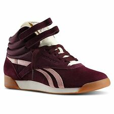 Reebok Classic Freestyle Hi Top Suede INT Women's Trainers Burgundy Retro
