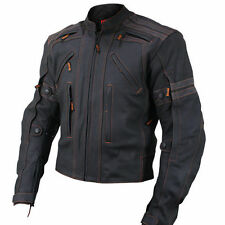 Vulcan Mens Black Street Armored Matte Black Leather Motorcycle Jacket (S-3XL)
