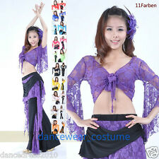 Ladies Lace Belly Dance Top Women Bolero Flared Long Sleeve Blouse Tops 11Colors