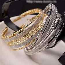 Women's Fashion Matte Round Big Ear Hoop Crystal Plated Glitter Earrings Jewelry