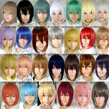 New Fashion Short Cosplay Party Wig Long Sideburns 25colors Free Wig Cap