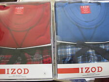 NWT  IZOD Men Pajamas 2 Piece Sleep Set Red Micro Fleece Top COTTON FLANNEL PANT