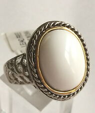 Silver Gold Two Tone Cocktail Ring Filigree White Stone Cable Size 9 USA Seller