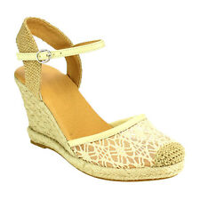 Top Moda CE03 Women's Platform Espadrille Ankle Strap Lace Wedge Sandals