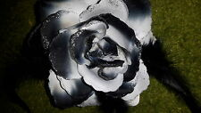 "11cm 4"" BLACK WHITE HAIR ROSE FLOWER ACCESSORY CORSAGE ELASTIC PIN CLIP FASTEN"