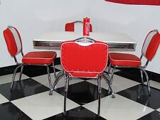 American Diner Furniture 50s Style Retro Booth Table And Red Chairs