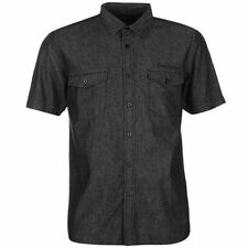 Pierre Cardin Mens Short Sleeve Denim Shirt Button Fastening Top Casual Clothing