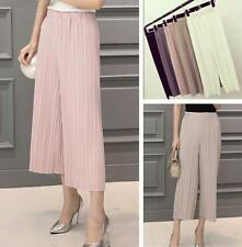 Womens Summer Pleated Casual Long Loose Pants Pleated Chiffon Wide-leg Trousers