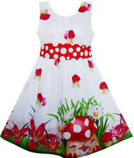 Girls Dress Mushroom Flower Grass Print Polka Dot Belt Red Size 4-12