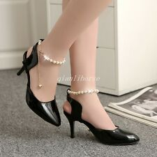Womens Slingback Pointy Toe Stilettos High Heel Beads Ankle Strap Party Shoes Sz