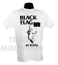 Licensed BLACK FLAG MY RULES Old School ROLLINS PUNK Mens T-Shirt White
