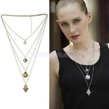 Fashion Jewelry Women Multilayer Sweater Chain Crystal Heart Pendant Necklace