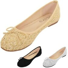 Ladies Slip On Glitter Scallop Bow Accent Ballet Pumps Dolly Shoes Loafers Flats