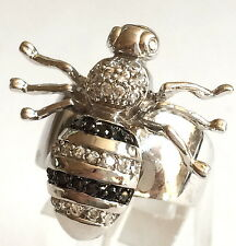 Silver Rhodium Plated Bumble Bee Cocktail Ring Swarovski Crystals Size 6 7 8 9