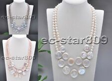 "D0211 2row 20"" 22mm Round Coin Freshwater Pearl Necklace"