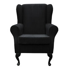 WINGBACK FIRESIDE CHAIR IN A BLACK JUMBO CORD FABRIC - CHEAPEST ON EBAY