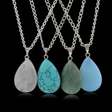 New Natural Quartz Stone Crystal Chakra Point Healing Waterdrop Pendant Necklace