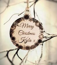 Personalised name engraved wooden Christmas Tree Decoration Bauble 7cm
