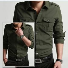 New Mens Shirts Luxury Casual Slim Fit Stylish Long Sleeve Shirt Army Green Tops