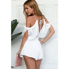 Women Sexy V-neck Off-Shoulder Chiffon Siamese Short Skirts Jumpsuits Rompers S
