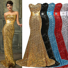 Biling Sequins Formal Wedding Bridesmaid Prom Gown Evening Party Dress Mermaid