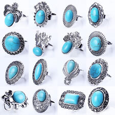 Vintage Statement Turquoise Stone Cocktail Ring Silver Plated Jewelry Adjustable