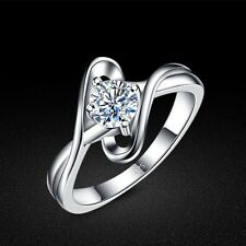 Genuine Solid Sterling Silver Clear CZ Lady's Ring Size 5 6 7 8 PR088