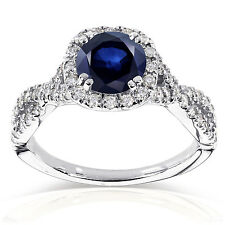 Annello 14k White Gold Sapphire and 1/2ct TDW Black and White Diamond Ring (G-H,