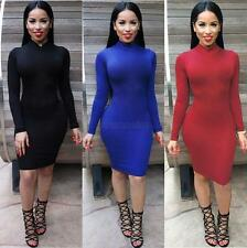 Sexy Women Long Sleeve Backless Bandage Bodycon Cocktail Club Party Mini Dress