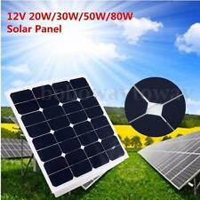 12V Solar Panel 20W 30W 50W 80W Battery Charger + Cable + Mounting Brackets Kits