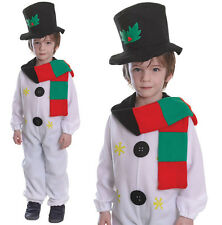 Childrens Kids Snowman Fancy Dress Costume Christmas Boys Girls Outfit 2-8 Yrs