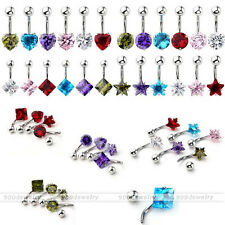 Belly Button Ring Stainless Steel Cubic Zirconia Crystal Curved Bars Navel Ring