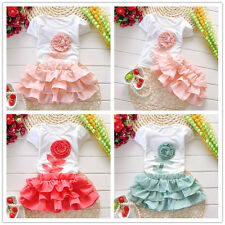 Kids Baby Girls Toddler T-shirt Tops + Skirt Tutu Dress 2PCS Set Outfits Clothes