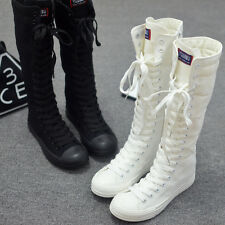 Womens Canvas Lace Up Knee High Boots Sneakers Flat Casual Punk Casual Shoe Size