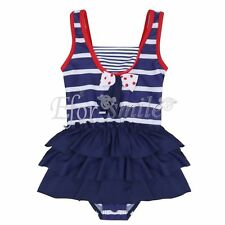 Girls One Piece Swimwear Swimsuit Bather Swimming Costume Bathing Suit Size 1-10