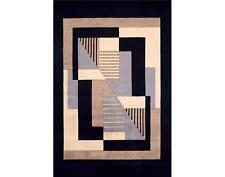 Momeni New Wave 06 Black Area Rug Modern Contemporary Wool All Sizes