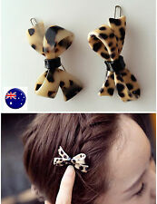 Women Lady Girl Leopard Animal Print Brown bow Agate color Hair side Clip pin