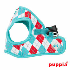 Dog Puppy Harness Soft Vest  - Puppia - Argyle - Aqua Blue - Choose Size