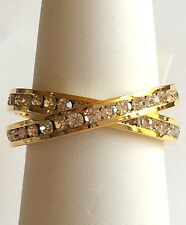 Gold Plated Eternity Ring Band Wedding Double Sparkly Crystals Size 8 9 USA