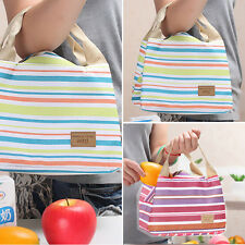 New Picnic Thermal Insulated Handbag Striped Canvas Lunch Totes Bag Carrier Case