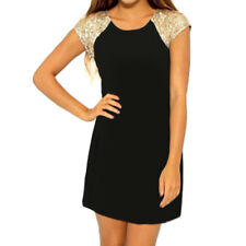 Women Raglan Sleeves Sequins Decor Mini Tunic Dress