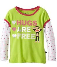 Paul Frank Baby Girls Hugs Are Free Tee Shirt Lime Green Long Sleeve T-shirt New
