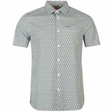 Lee Cooper Mens AOP Shirt Cotton Short Sleeve Buttons Front Casual Top