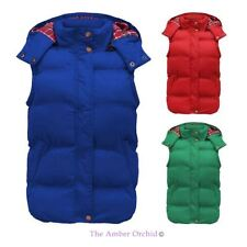 NEW LADIES QUILTED PADDED TARTAN HOOD GILET WOMENS JACKET PUFFER BODYWARMER 8-14