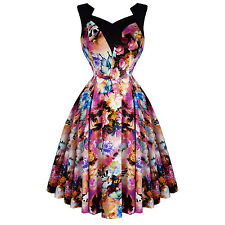 Hearts and Roses London Purple Floral Butterfly 50s Vintage Tea Party Dress UK