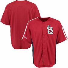 St. Louis Cardinals Stitches Cut off Man Fashion Full Button Jersey - Red - MLB